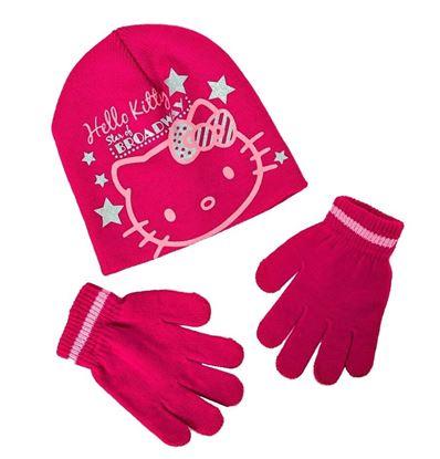 Obrázek Čepice a rukavice Hello Kity - malinová
