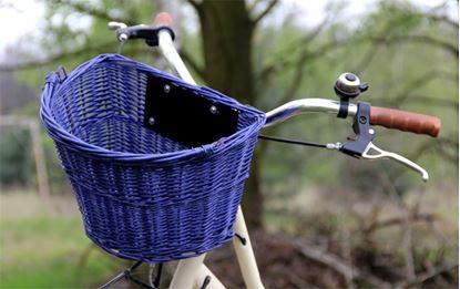 Obrázek Proutěný koš na řídítka - modrý